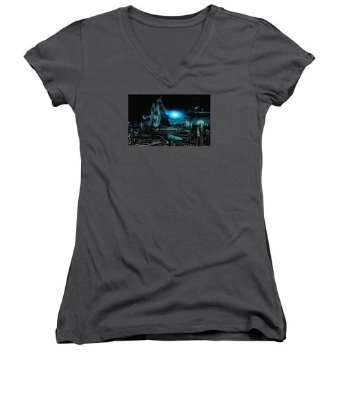 Tron Revisited Women's V-Neck T-Shirt (Junior Cut) by Mario Carini