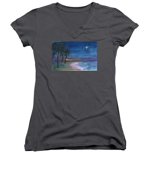 Women's V-Neck T-Shirt (Junior Cut) featuring the painting Tropical Christmas by Donna Walsh