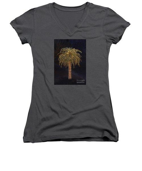 Tropical Christmas Women's V-Neck T-Shirt (Junior Cut) by Kevin McCarthy