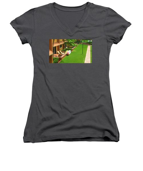 Tropical Courtyard Women's V-Neck (Athletic Fit)
