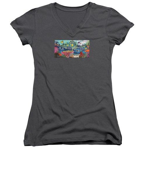 Tropical Fish Colors Women's V-Neck T-Shirt