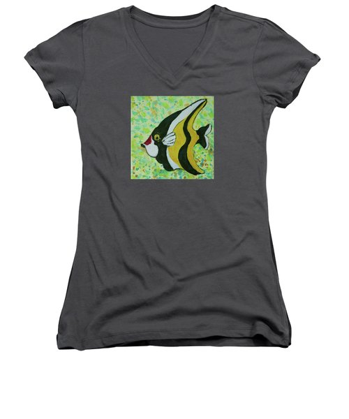 Tropical Fish Series 1 Of 4 Women's V-Neck T-Shirt (Junior Cut) by Gail Kent
