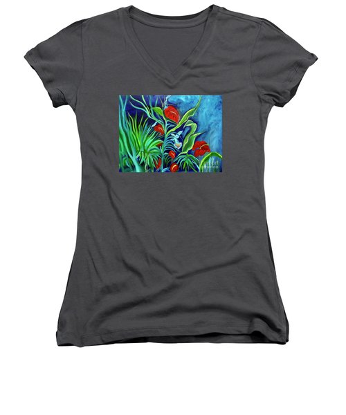 Tropical Flowers 1 Women's V-Neck (Athletic Fit)