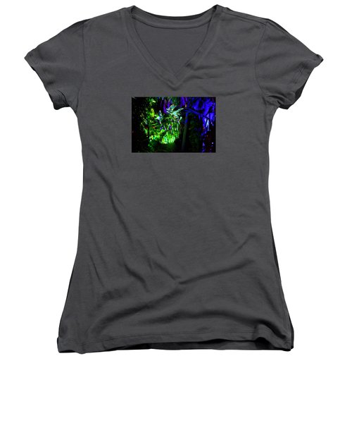 Women's V-Neck T-Shirt (Junior Cut) featuring the photograph Into The Psychedelic Jungle by Richard Ortolano