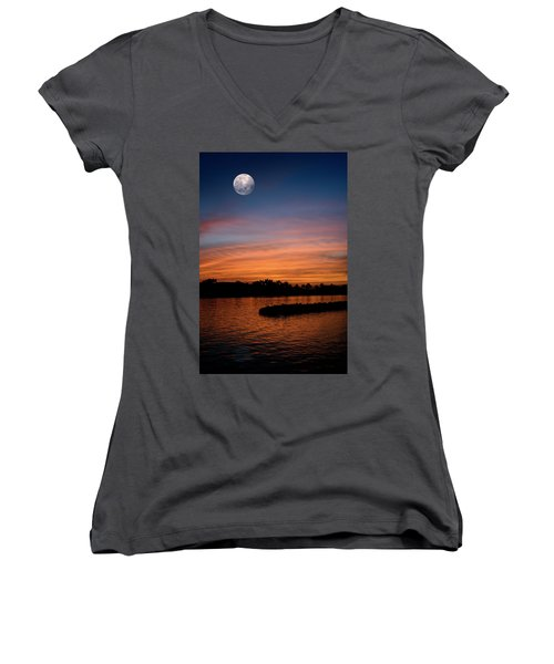 Women's V-Neck T-Shirt (Junior Cut) featuring the photograph Tropical Moon by Laura Fasulo