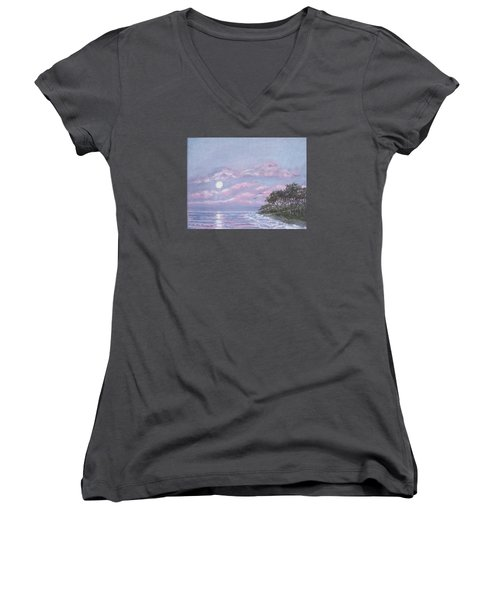 Women's V-Neck T-Shirt (Junior Cut) featuring the painting Tropical Moonrise by Kathleen McDermott