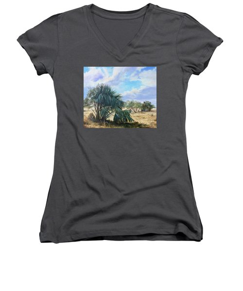 Tropical Orange Grove Women's V-Neck T-Shirt