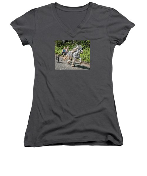 Women's V-Neck T-Shirt (Junior Cut) featuring the photograph Trotting At Appleby Horse Fair by Brian Tarr