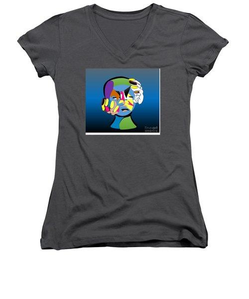 Troubled Women's V-Neck T-Shirt (Junior Cut) by Belinda Threeths