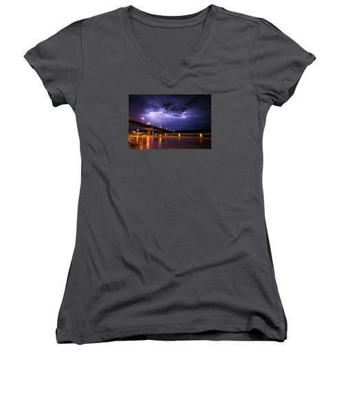 Troubled Skies Women's V-Neck T-Shirt (Junior Cut) by Joe Scott