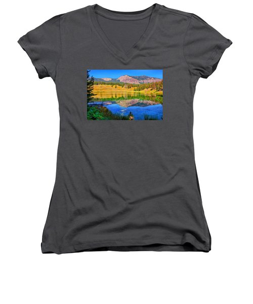 Trout Lake Women's V-Neck T-Shirt (Junior Cut) by Greg Norrell