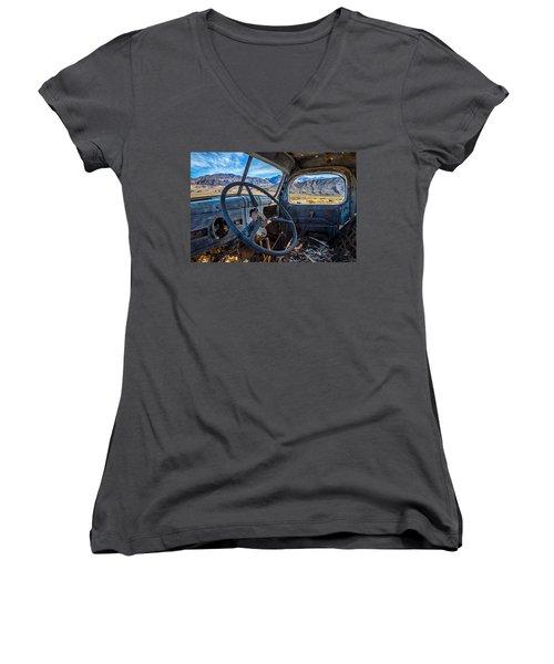 Truck Desert View Women's V-Neck T-Shirt (Junior Cut) by Peter Tellone