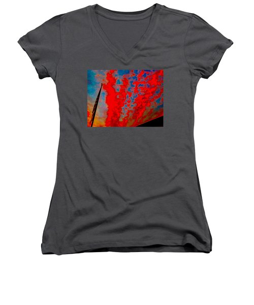 Trump Red Sunset Meets American Flag Women's V-Neck