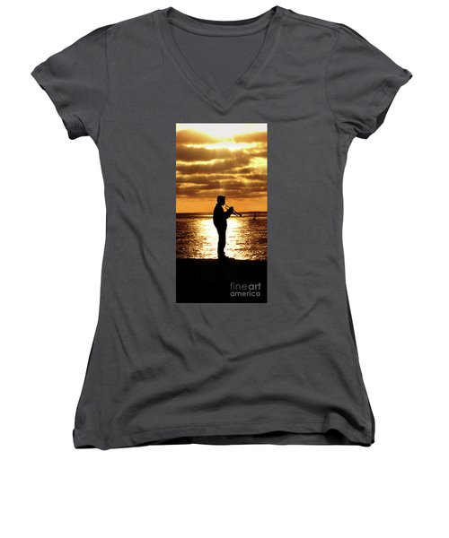 Trumpet Player Women's V-Neck (Athletic Fit)
