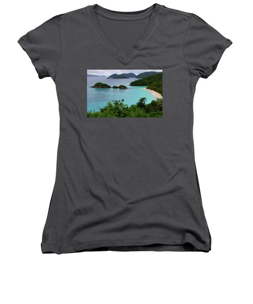 Women's V-Neck T-Shirt (Junior Cut) featuring the photograph Trunk Bay At U.s. Virgin Islands National Park by Jetson Nguyen
