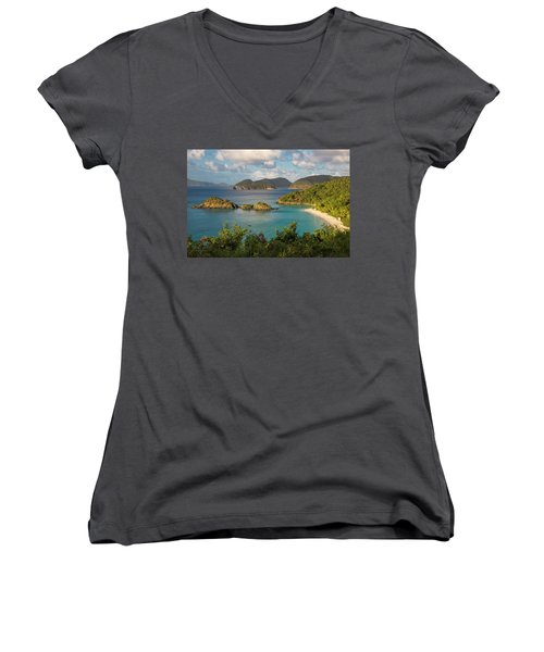 Women's V-Neck T-Shirt (Junior Cut) featuring the photograph Trunk Bay Morning by Adam Romanowicz
