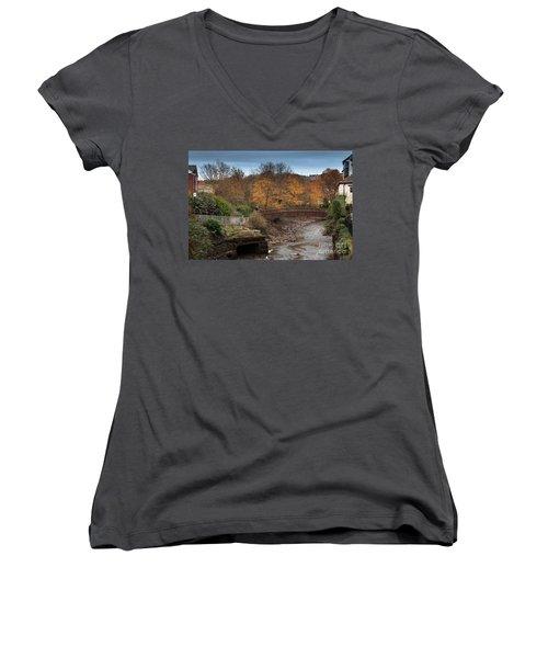 Women's V-Neck T-Shirt (Junior Cut) featuring the photograph Truro River by Brian Roscorla