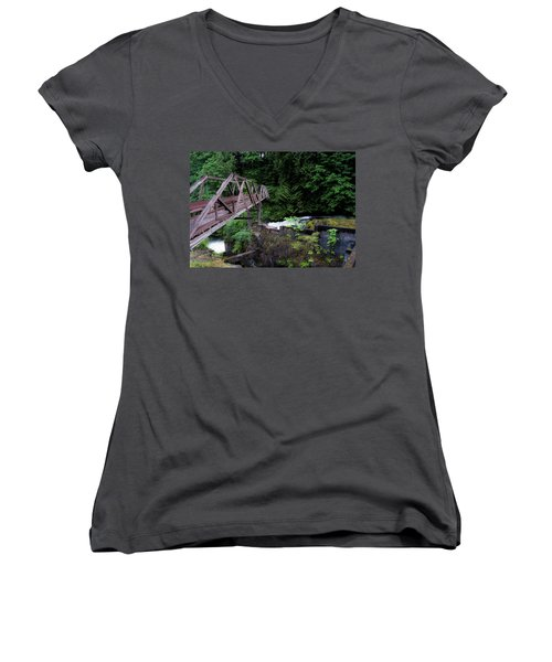 Women's V-Neck T-Shirt (Junior Cut) featuring the photograph Trussting by Rhys Arithson