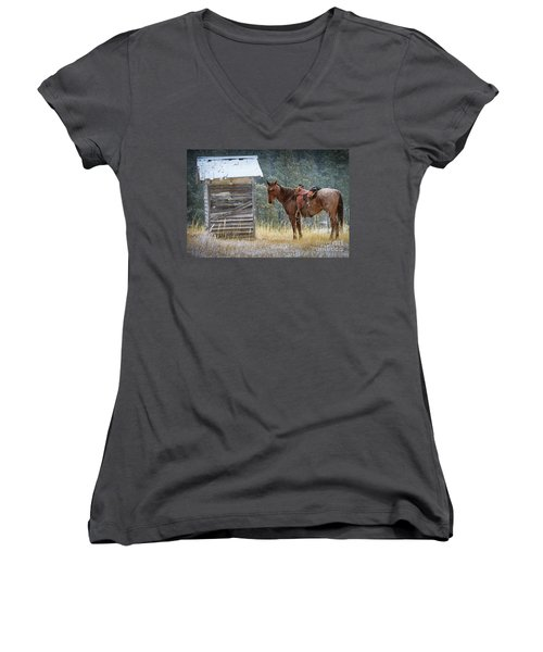 Trusty Horse  Women's V-Neck (Athletic Fit)