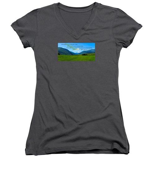 Truth In Fellowship Women's V-Neck T-Shirt (Junior Cut) by David Norman