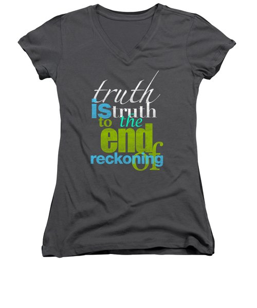 Michael Jackson Truth Is Truth Women's V-Neck T-Shirt (Junior Cut) by D Francis
