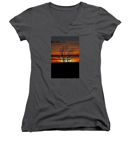 Tuesday Afternoon Sunset Women's V-Neck T-Shirt (Junior Cut) by Dacia Doroff