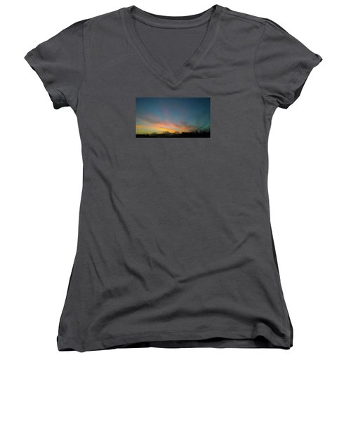 Women's V-Neck T-Shirt featuring the photograph Tuesday Sunrise by Anne Kotan
