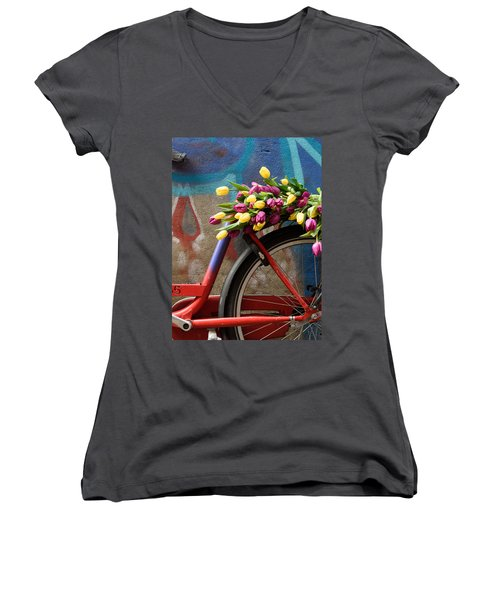 Women's V-Neck T-Shirt (Junior Cut) featuring the photograph Tulip Bike by Phyllis Peterson