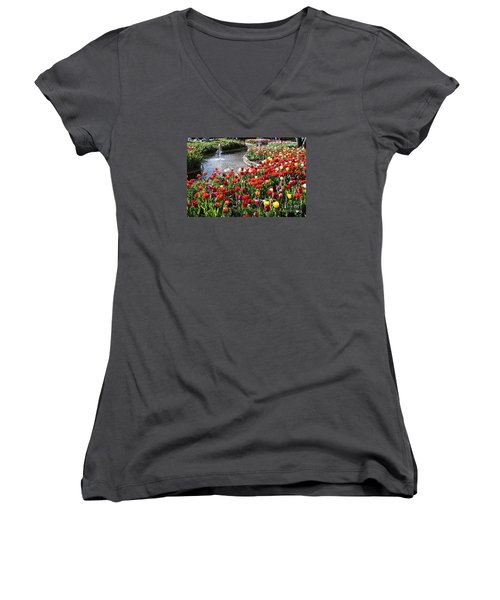 Women's V-Neck T-Shirt (Junior Cut) featuring the photograph Tulip Festival by Bev Conover