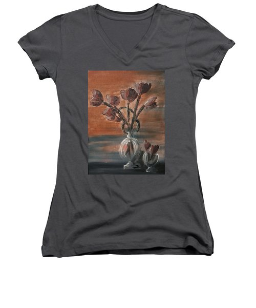 Women's V-Neck T-Shirt (Junior Cut) featuring the painting Tulip Flowers Bouquet In Two Round Water Filled Small Globe Shaped Vases On A Table Still Life Of Bo by MendyZ