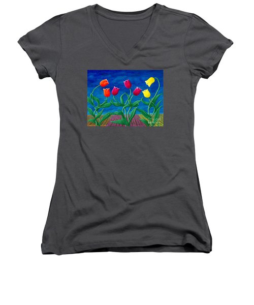 Tulip Tango Women's V-Neck T-Shirt (Junior Cut) by Rebecca Parker