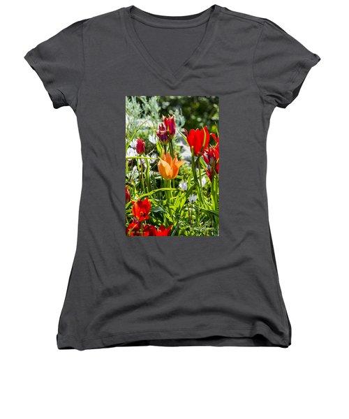 Tulip - The Orange One Women's V-Neck T-Shirt (Junior Cut) by Arik Baltinester