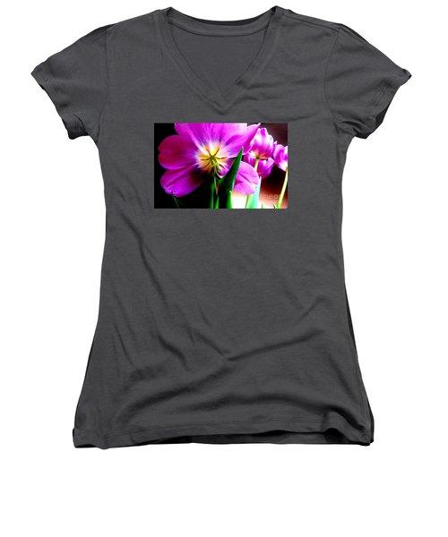 Tulip Time Women's V-Neck T-Shirt (Junior Cut) by Tim Townsend