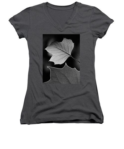 Tulip Tree Leaves Competing For Light Women's V-Neck T-Shirt (Junior Cut) by Jane Ford