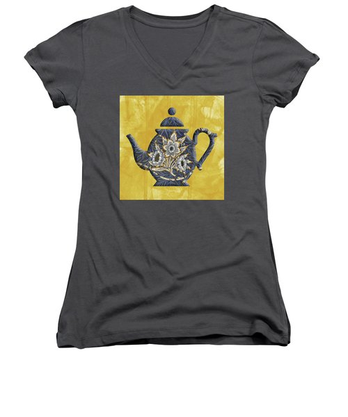 Tulips And Willow Pattern Teapot Women's V-Neck