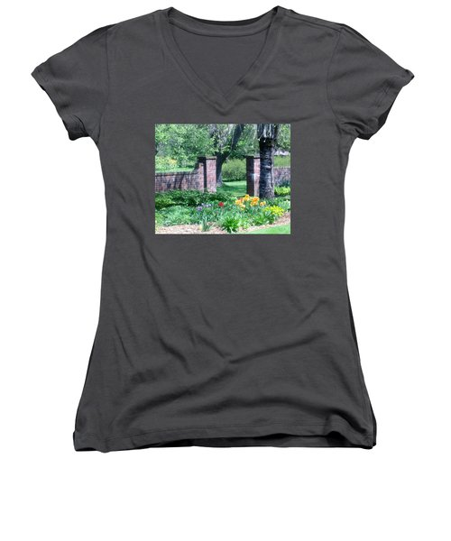 Tulips At Glen Magna Farms Women's V-Neck T-Shirt