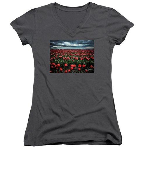 Tulips Forever Women's V-Neck (Athletic Fit)