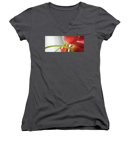 Tulips In The Morning Women's V-Neck T-Shirt (Junior Cut) by Theresa Tahara