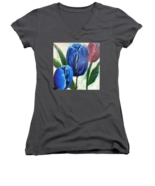 Tulips Large Oil Flowers Women's V-Neck T-Shirt (Junior Cut)