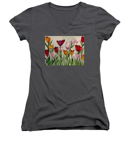 Tulips Women's V-Neck T-Shirt (Junior Cut) by Lisa Aerts