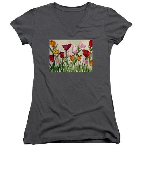 Tulips Women's V-Neck (Athletic Fit)
