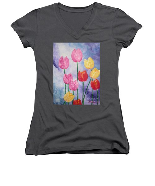 Women's V-Neck T-Shirt (Junior Cut) featuring the painting Tulips - Red-yellow-pink by Sigrid Tune