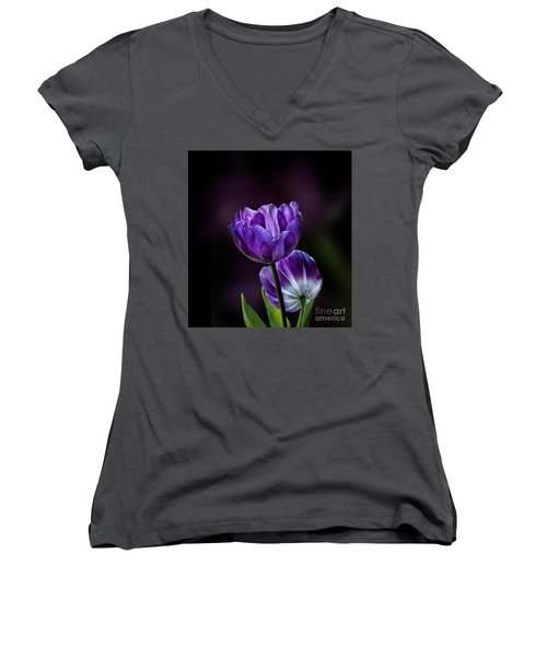 Tulips Women's V-Neck T-Shirt (Junior Cut) by Shirley Mangini