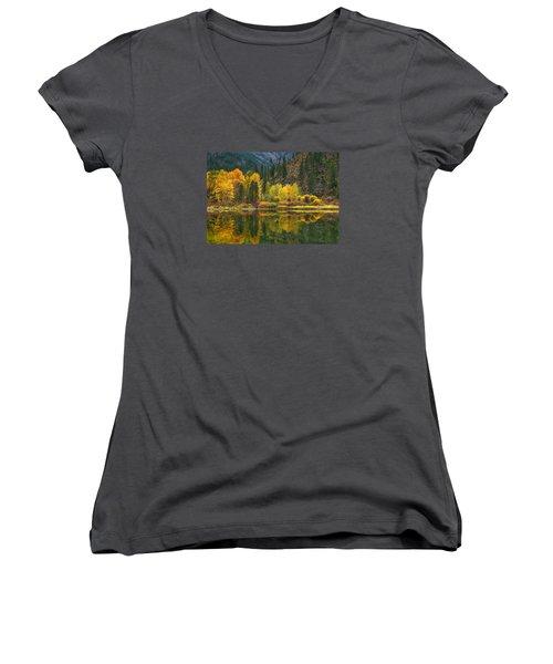 Tumwater Reflections Women's V-Neck T-Shirt (Junior Cut) by Lynn Hopwood