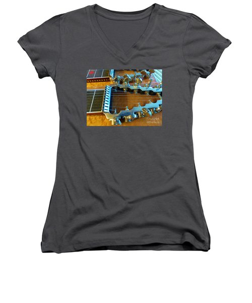 Tuning Pegs On Sho-bud Pedal Steel Guitar Women's V-Neck