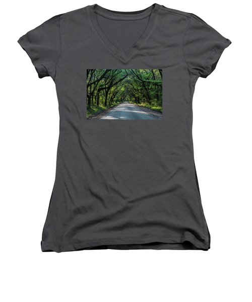 Women's V-Neck T-Shirt (Junior Cut) featuring the photograph Tunnel On Botany Bay by Jon Glaser
