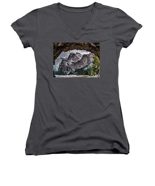 Women's V-Neck T-Shirt (Junior Cut) featuring the photograph Tunnel View From The Tunnel by Bill Gallagher