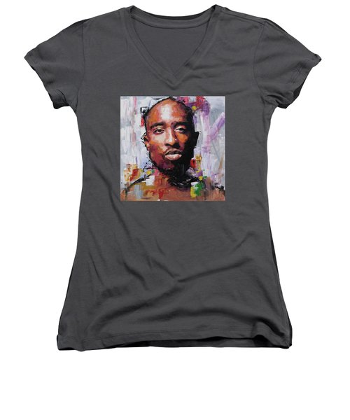 Tupac Women's V-Neck T-Shirt (Junior Cut) by Richard Day