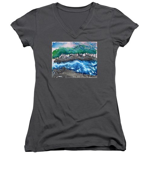 Women's V-Neck T-Shirt (Junior Cut) featuring the painting Turbulent Waters by Antonio Romero