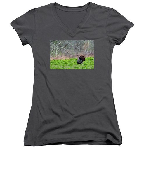 Women's V-Neck T-Shirt (Junior Cut) featuring the photograph Turkey And Cabbage by Bill Wakeley